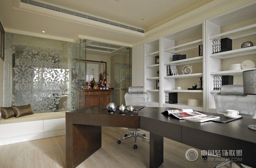 白色简欧现代理想空间简约书房装修图片