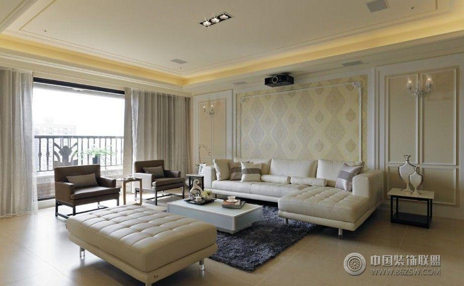 白色简欧现代理想空间-客厅装修效果图-八六装饰网