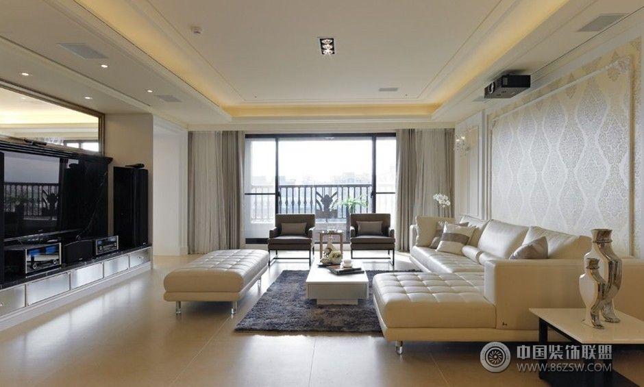 白色简欧现代理想空间-客厅装修效果图-八六(中国)