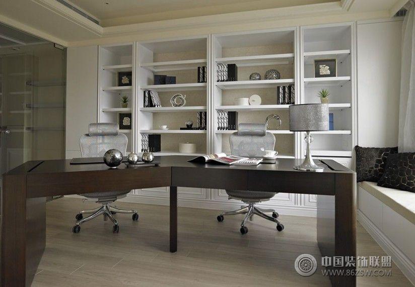 白色简欧现代理想空间-书房装修效果图-八六(中国)