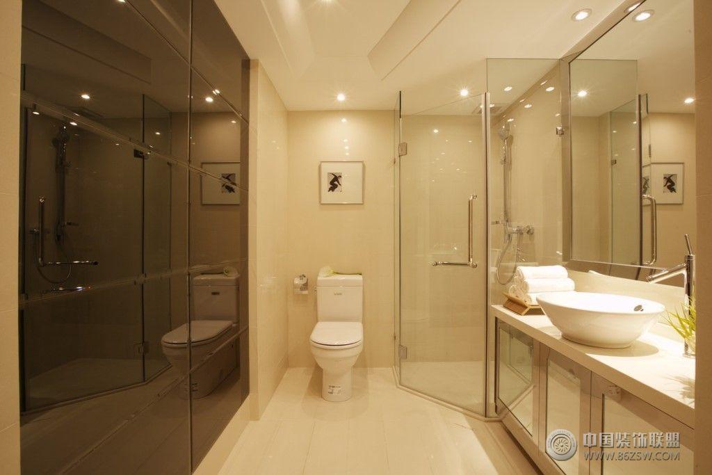 125㎡简约现代风格样板房 卫生间装修效果图 八六 高清图片
