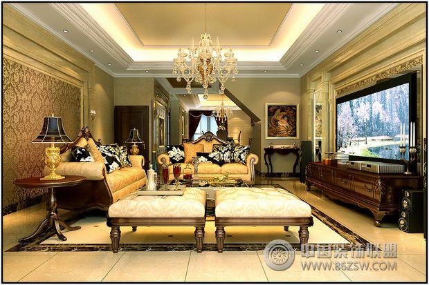 天津430平美式风格别墅 客厅装修效果图