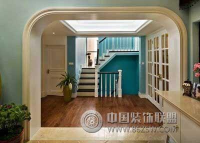 简约欧式风格跃层-过道装修效果图-八六(中国)装饰