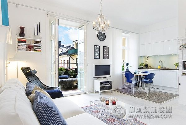40平米蓝色活力公寓简约客厅装修图片