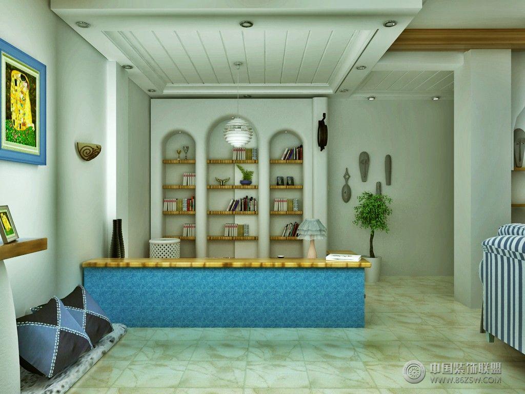 90平米小户型地中海风格-书房装修图片