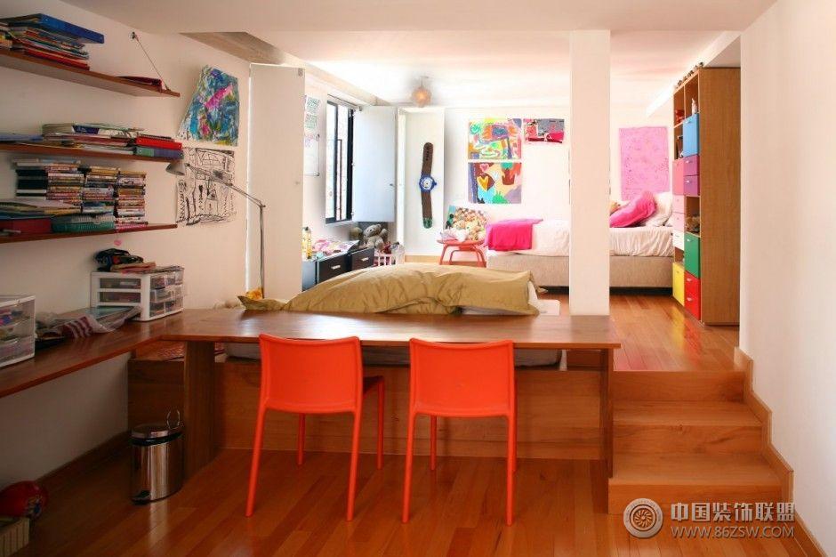 家混搭复式楼室内色彩装修效果图 公寓设计 儿童房装修图片
