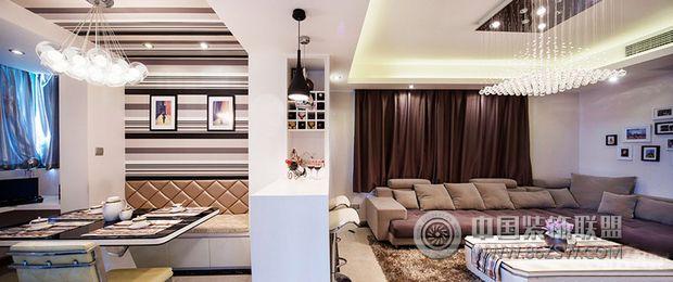 90平米浅色调简约婚房-客厅装修图片