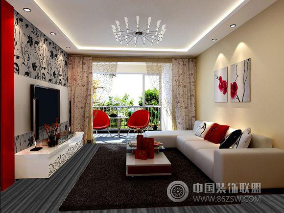 70平米现代简约新居现代客厅装修图片