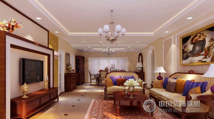 15万打造140平米完美视觉享受欧式客厅装修图片