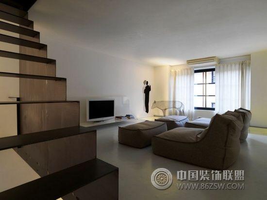 85平米极简现代复式简约客厅装修图片