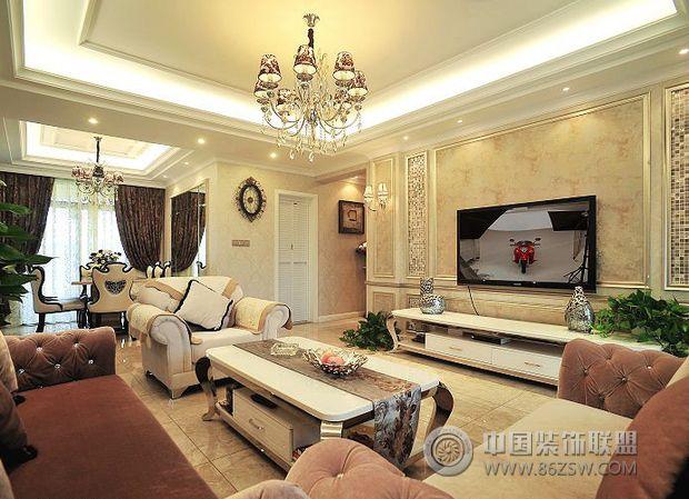 18万装104平米简欧美居-客厅装修效果图-八六(中国)图
