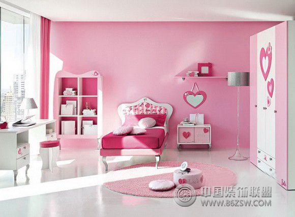 芭比娃娃主题卧室整套大图展示_现代大户型装修效果图