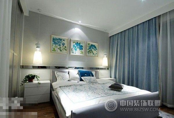 20万装130平米时尚蓝调-卧室装修效果图-八六(中国)