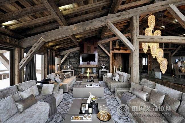 法国豪华木屋-客厅装修效果图-八六(中国)装饰联盟