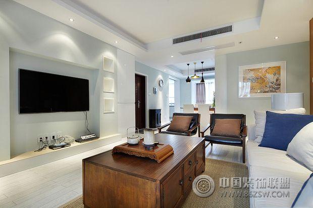 110平米美式简约美家-客厅装修效果图-八六(中国)