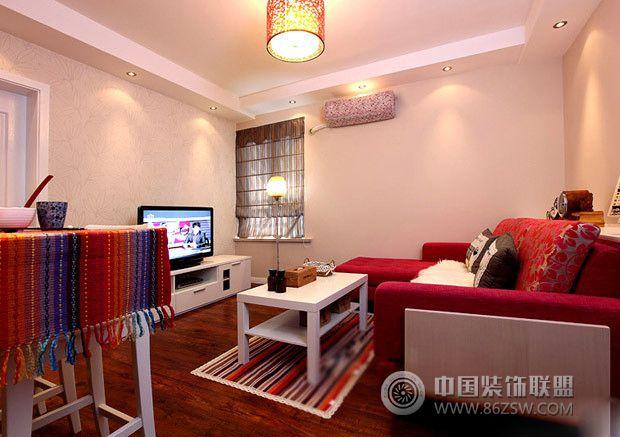 红色现代婚房 客厅装修效果图 八六装饰网装修效果图库