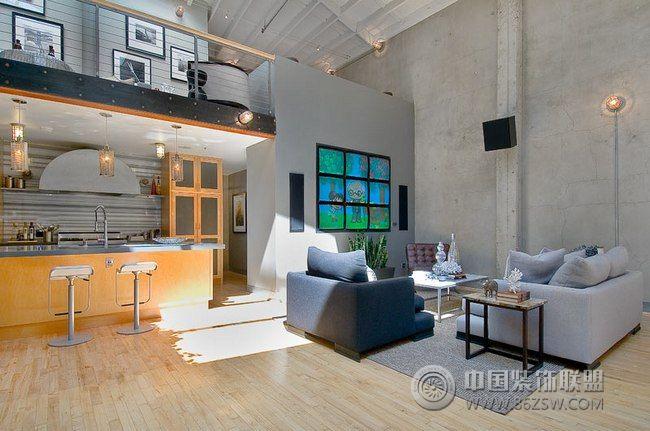 高挑宽敞的loft公寓-客厅装修效果图-八六(中国)装饰
