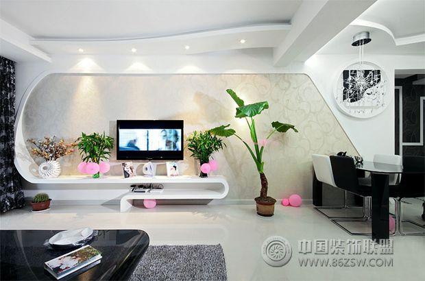8万装106平米黑白灰经典婚房 客厅装修效果图 八六网