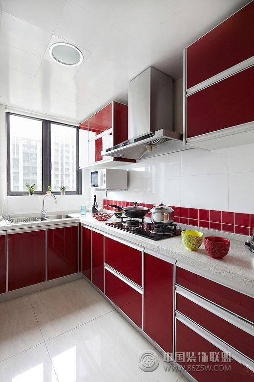 12万全包90平米红色温馨美家 厨房装修效果图 八六装饰网装修效果图