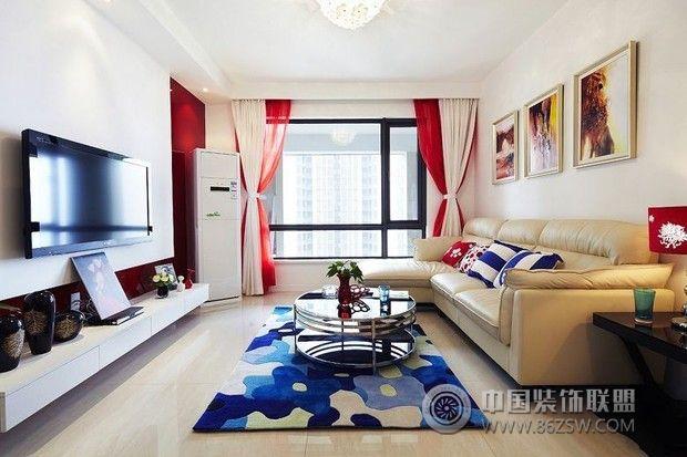 12万全包90平米红色温馨美家 客厅装修效果图 八六装饰网装修效果图