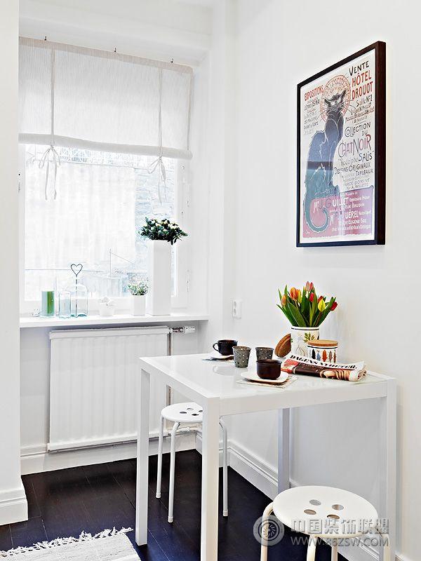 61平米现代黑白公寓餐厅装修图片