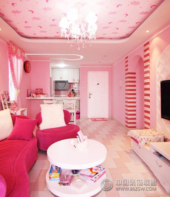 装修效果图 现代装修效果图 凯蒂猫主题的粉色世界 【整套案例大图】