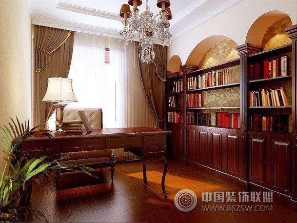 中式书房装修案例整套大图展示_中式大户型装修效果图