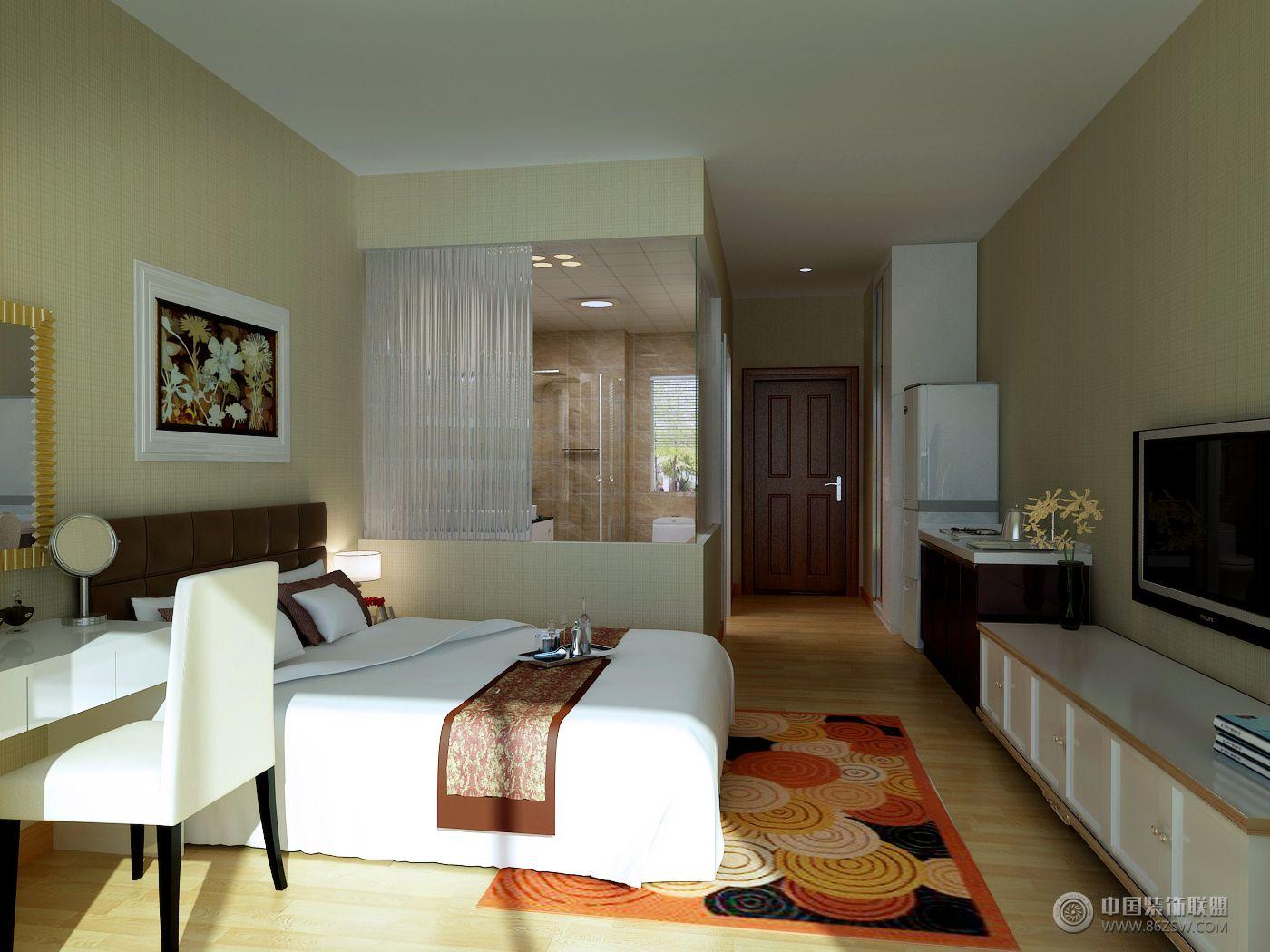 酒店式公寓01_簡約公寓裝修效果圖_八六(中國)裝飾聯盟裝修效果圖庫(8