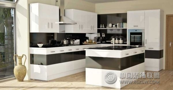时尚摩登厨房设计_现代大户型装修效果图