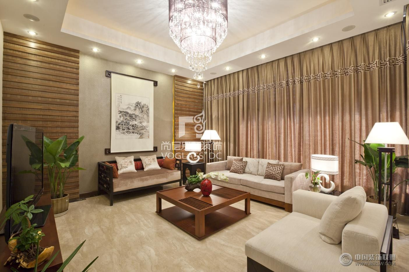 交大一百栋成都尚层别墅装饰作品中式客厅装修图片