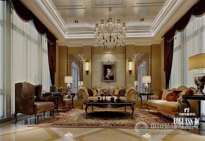 成都尚层装饰设计案例——长桥郡独栋别墅欧式客厅装修图片
