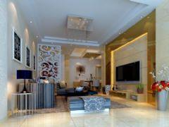 华尔花园小区客厅设计方案混搭风格四居室