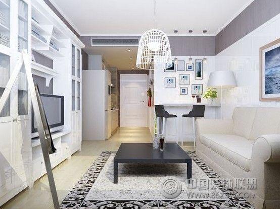 现代装修效果图 金地小区-一居室-46平米-装修设计  类型:家装 风格