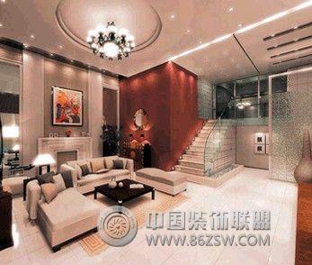 复式楼装饰设计案例-客厅装修效果图-八六(中国)装饰
