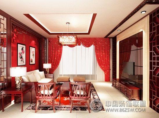 江夏教师公寓中式客厅装修图片