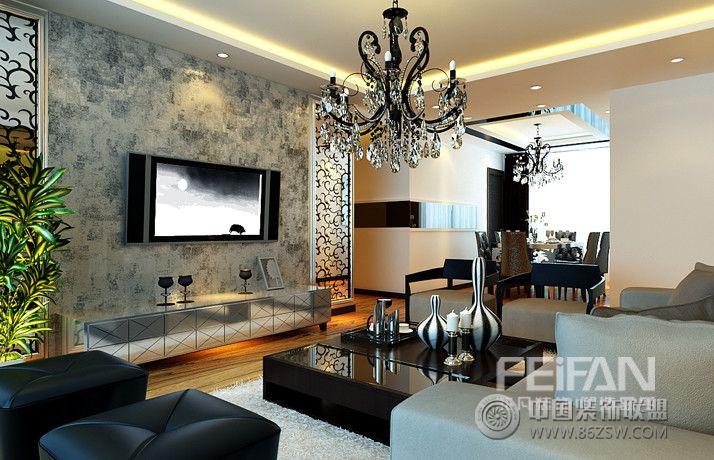明湖123平现代奢华现代客厅装修图片