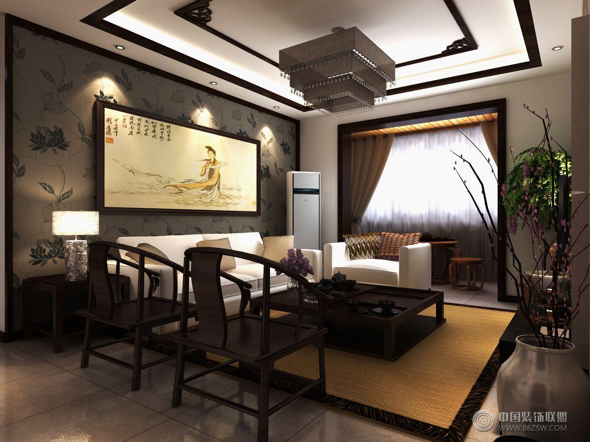 汉东国际中式客厅装修图片