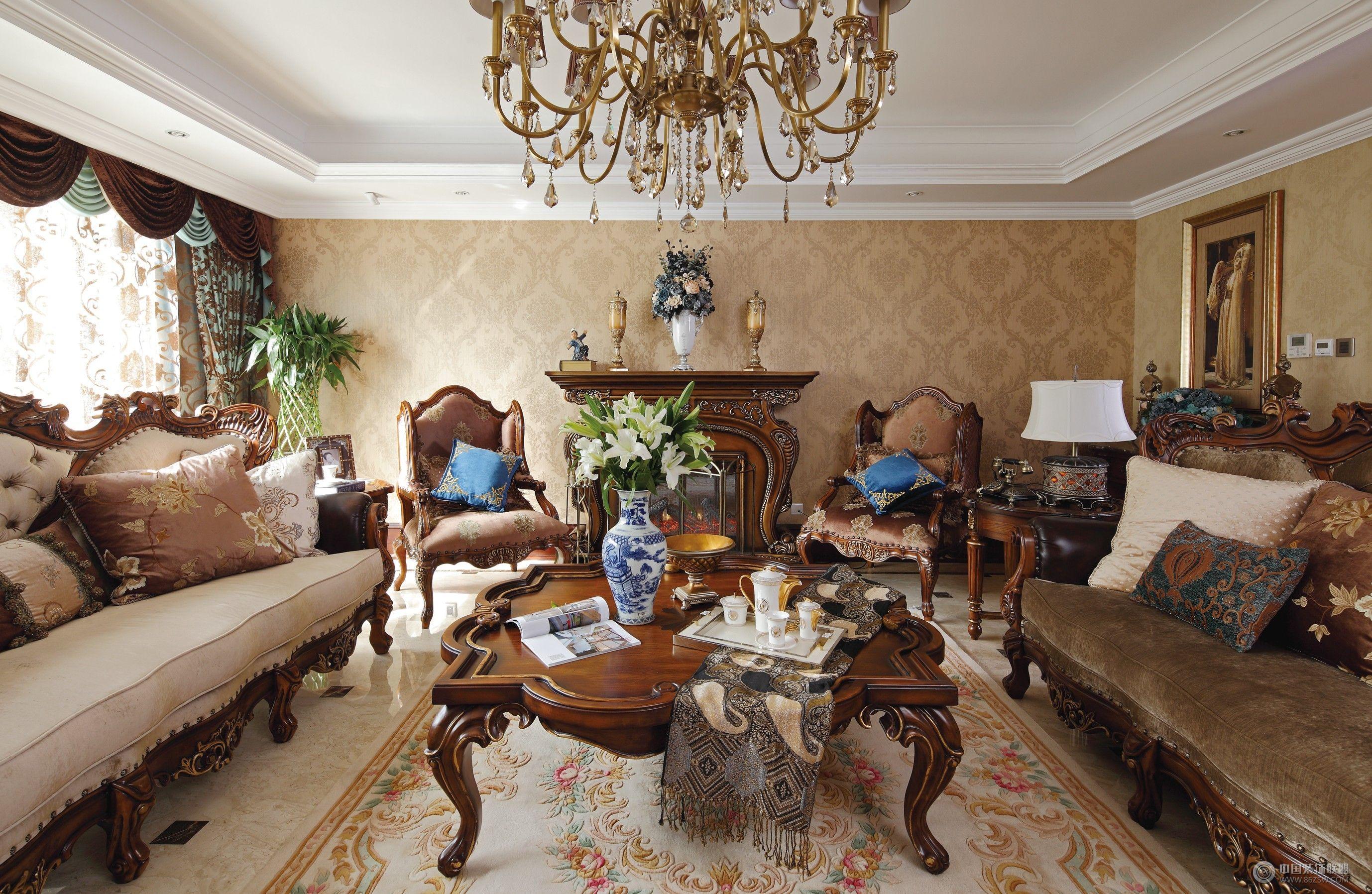 成都尚层别墅设计案例——欧式风格-客厅装修效果图