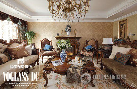 天津室内装修_圣诞节别墅设计活动美式客厅装修图片