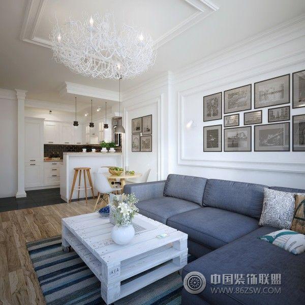 110平简欧时尚公寓-客厅装修效果图-八六(中国)装饰