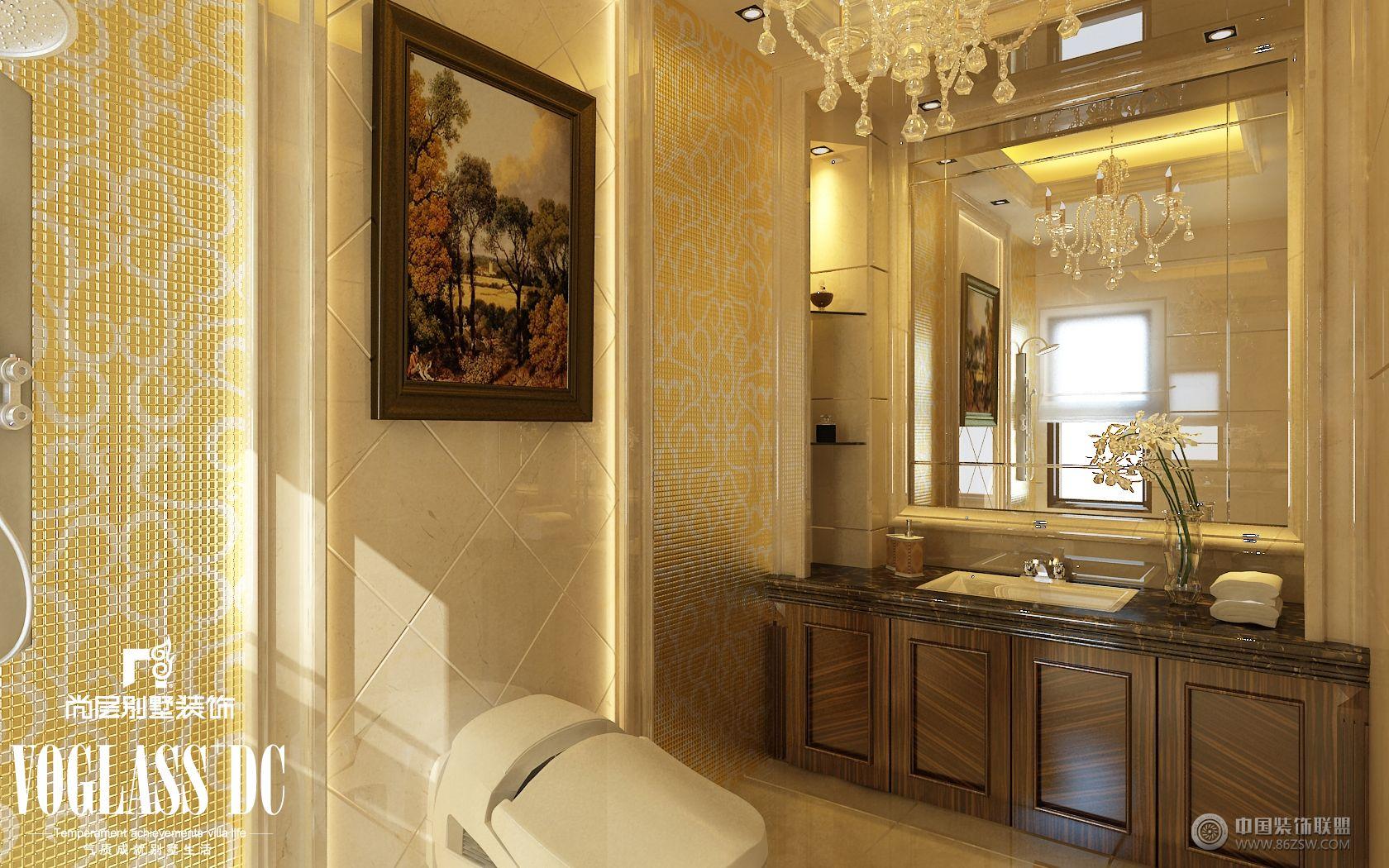 欧式古典别墅效果图-卫生间装修图片