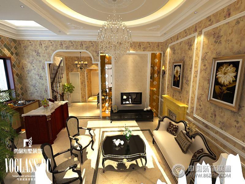 设计理念: 王府壹号装修咨询:13622018645 案例说明:本案在平面布局上做了很大调整,强调空间的自然融合。此案例少了富丽堂皇的装饰和浓烈的色彩,呈现的则是一片清新,典雅和大气并存的轻松空间。肌理的电视背景墙,明亮素实的窗帘,和古典色彩的地毯相呼应的吊灯,加上造型简洁大方的沙发构成了一个典型的欧洲世界,送给心灵一次欧洲的游历。