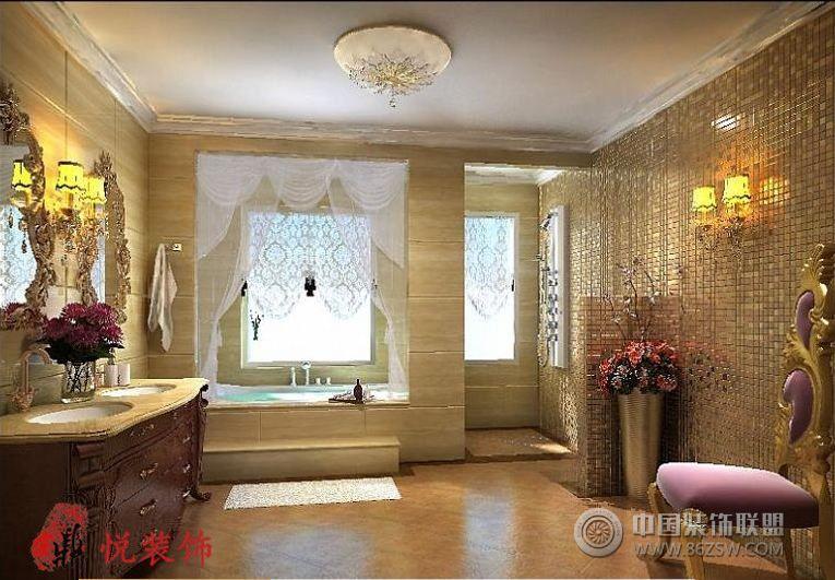 黄金海岸别墅美式卫生间装修图片