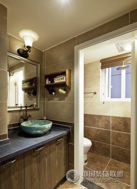 82平美式复古二居温馨家美式卫生间装修图片