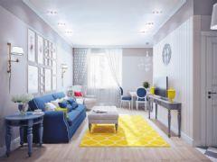 蓝黄的完美搭配 清新的小户型家
