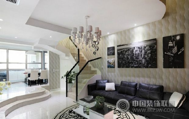 奢华复式住宅 现代风格家装-客厅装修效果图-八六()(.图片
