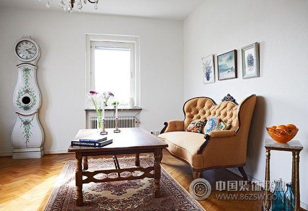 北欧风格木质地板设计的小清新客厅欣赏-客厅装修