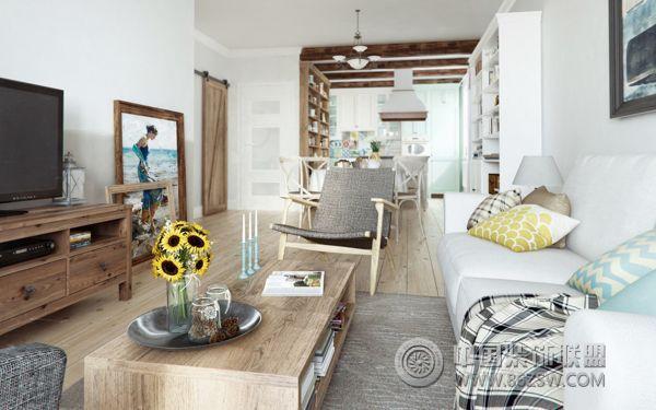装修效果图 混搭装修效果图 85平混搭公寓设计 自然质朴原木风家居
