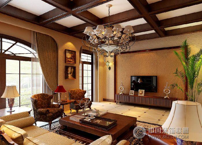绿地圣罗兰美式风格别墅-客厅装修图片