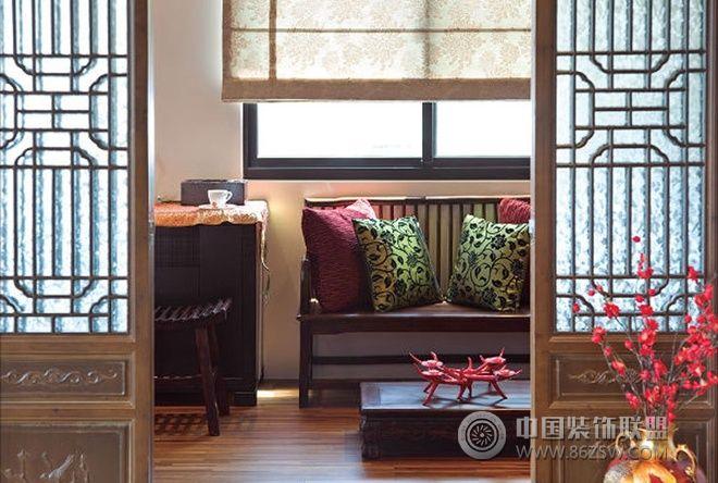69平米中式禅风两室一厅中式玄关装修图片